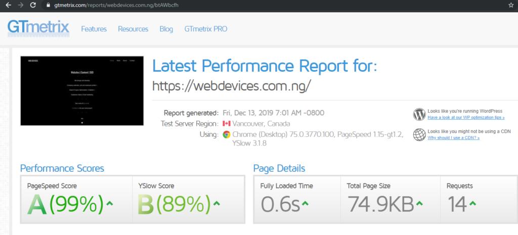 WebDevices GTmetrix Performance Post-Optimization