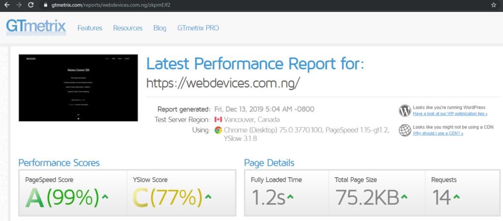 WebDevices GTmetrix Performance Pre-Optimization